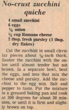 Recipe For Zucchini Quiche (Clipping)