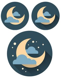 add stars and shadow to the crescent moon icon