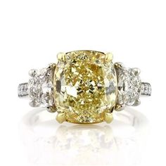 6.37ct Fancy Yellow Cushion Cut Diamond Engagement Anniversary Ring List Price $107,897.00 Your Price $62,995.00