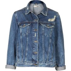 TOPSHOP MOTO Vintage Wash Denim Jacket (£34) ❤ liked on Polyvore featuring outerwear, jackets, coats & jackets, coats, tops, mid stone, western denim jacket, blue jean jacket, jean jacket and cowboy denim jacket