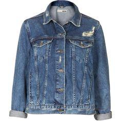 TOPSHOP MOTO Vintage Wash Denim Jacket found on Polyvore