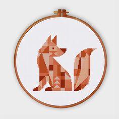Geometric Fox minimalist cross stitch pattern von ThuHaDesign