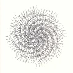Original Ink Drawing Spiral Abstract Line by ParametricDrawing