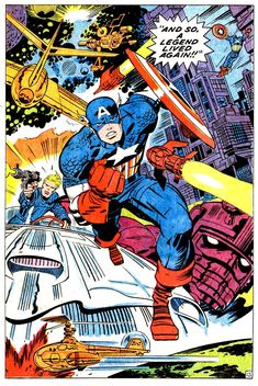 """brianmichaelbendis: """"Pages from Captain America by Jack Kirby, inked by George Tuska. Apparently Kirby pencilled the entire breathless issue in a weekend when Stan Lee decided Jim Steranko was. Comic Book Artists, Comic Book Characters, Comic Book Heroes, Marvel Characters, Comic Character, Comic Books Art, Comic Art, Marvel Comics Superheroes, Marvel Art"""