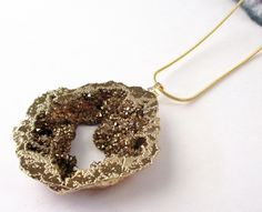 Druzy Necklace Bronze Titanium Crystal Druzy Geode by BijiJewelry