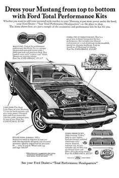 1965 Mustang after market Performance Kits from Ford, including a dual 4 Barrel Carb kit.