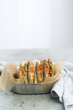 Pickled Carrot and Hummus Sandwich with Sprouts and Feta   http://naturallyella.com