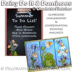 Daisy Do Chalkboard & Domino Magnets e-Pattern - Charlotte Fletcher - PDF DOWNLOAD Painting Patterns, Lemonade, Planting Flowers, Chalkboard, Magnets, Daisy, Charlotte, Pdf, Artist