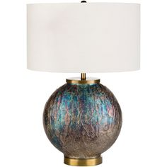 Modern table lamps with round, hand finished iridescent glass bodies with a burnished satin brass that coordinate perfectly with Surya's Donia accent vases. Small and large sizes available. Small Accent Tables, Donia, Metal Table Lamps, Lamp Shade Store, Transitional Wall Sconces, Cool Floor Lamps, Brushed Metal, Accent Furniture, Home Lighting