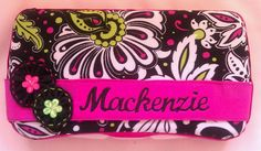Black with Pink and Green Flowers Decorated Diaper Wipe Case With Baby's Name