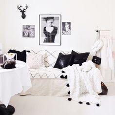 Diy tassle blanket blackwhite boho bohemian nordic rustic