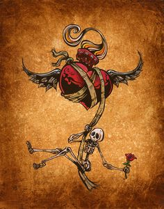 Day of the Dead artist David Lozeau paints Dia de los Muertos art, skeleton art, sugar skull art, and candy skull art in his unique Lowbrow art style. Memento Mori, Tenacious D, Day Of The Dead Art, Skeleton Art, Neue Tattoos, Desenho Tattoo, Skull Tattoos, Tatoos, Tattoo Designs