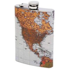 Maxam 8oz Stainless Steel Flask with Antique World Map-New In Gift Box