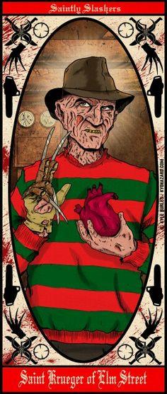 Saintly Slashers Freddy Krueger by Kyohazard Horror Icons, Horror Films, Horror Art, Robert Englund, Slasher Movies, Horror Movie Characters, Freddy Krueger, Voodoo, Frankenstein