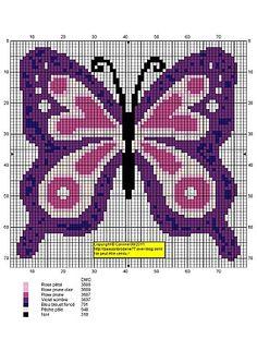 Butterfly Cross Stitch, Cross Stitch Baby, Cross Stitch Animals, Butterfly Pattern, Peyote Patterns, Loom Patterns, Cross Stitch Patterns, Modele Pixel, Cross Stitch Boards