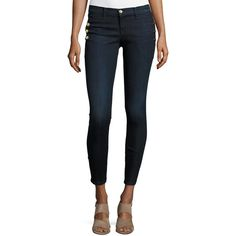 J Brand Jeans Zion Mid-Rise Skinny Ankle Jeans w/ Button Detail ($238) ❤ liked on Polyvore featuring jeans, blue, women's apparel jeans, button-fly jeans, faded skinny jeans, j brand skinny jeans, super skinny ankle jeans and mid rise skinny jeans
