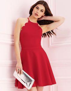 LIPSY SCALLOP HEM SKATER DRESS #style #fashion #trend #onlineshop #shoptagr