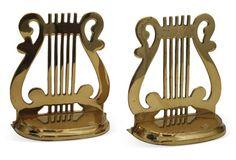 Brass Harp Bookends Harp, Bookends, Brass, Beautiful, Decor, Decoration, Decorating, Deco, Rice