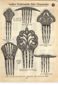 1923 PAPER AD Demi Tortoise Hair Pin Combs Ornaments Blue Sapphire | eBay