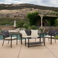 Christopher Knight Home San Mateo 4-piece Aluminum Outdoor Sofa Set with Cushions - Overstock Shopping - Big Discounts on Christopher Knight Home Sofas, Chairs & Sectionals