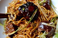 these Braised Oxtail Noodles are so good--the oxtails are super tender and have that wonderfully chewy collagen texture.and the sauce coats the noodles amazingly well. Oxtail Recipes, Meat Recipes, Asian Recipes, Dinner Recipes, Cooking Recipes, Ethnic Recipes, Chinese Recipes, Beef Dishes, Planks