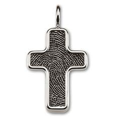 Sterling Silver Framed Fingerprint Cross
