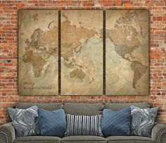 Vintage World Map WITH Countries on Canvas - Vintage World Map set for home or office art. Large wall art, world map canvas, Map print, art