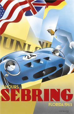 Vintage Cars Classic Sebring 12 Hours' by Emilio Saluzzi - Vintage car posters - Art Deco - Pullman Editions - Ferrari - Art Deco Posters, Car Posters, Modern Posters, Retro Posters, Grand Prix, Automobile, Garage Art, Vintage Race Car, Automotive Art