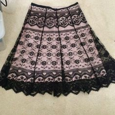 Pink and black lace skirt - size 3 Cute pink and black lace skirt! Perfect for an evening out! zinc Skirts