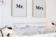Mr & Mrs Art Print Set of 2  Black and White by SubloadTravellers