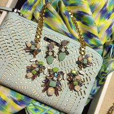 Spring Greens! Beautiful Trellis Necklace earrings and mint perf clutch combo...www.stelladot.com/denisebranson