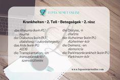 Szókincs :: Lupán Német Online Diabetes, German Language Learning, Alzheimer, Dementia, Parkinson's Disease, Dialysis, Learn German