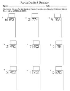 Division Using Partial Quotients and Area Model | Teaching math ...