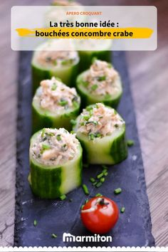 Bites of cucumber with crab - Marmiton cooking recipe: a recipe Food Healthy Cooking, Healthy Snacks, Beef Recipes, Cooking Recipes, Brunch, Snacks Saludables, Eating Light, Snacks Für Party, Food Platters
