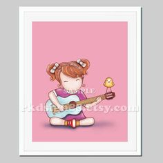 Children wall art, Guitar wall art, music art, baby girl nursery decor, kids art, nursery art work, red hair - Guitar Lesson 2