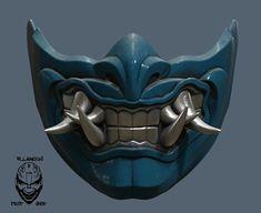 Mortal Kombat 11 Sub Zero Mask image 5 Ninja Rpg, Mascara Oni, Kitsune Maske, Sub Zero Mortal Kombat, Character Art, Character Design, Arte Ninja, Oni Mask, Mask Drawing