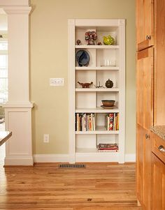 LIBRARY – BOOKCASE – home office, den and study. Convert seldom used doorway to a bookcase. Nicely done.