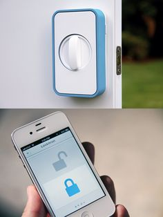 Lockitron unlocks your door when you are near or from your smartphone from anywhere in the world