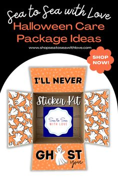 Halloween care packages are a great way to stay connected with your loved one during a military deployment. Visit here to check out hundreds of care package ideas and themes in Sea to Sea with Love's shop! If you are looking for an easy way to decorate your care package, then this is the shop for you! Get inspired to create your own DIY care package with sticker kits. You will love how easy they are to use. These are also perfect for college and long distance packages too! Military Deployment, Military Wife, Long Distance Packages, I Care Packages, Halloween Care Packages, Birthday Care Packages, Deployment Care Packages, Halloween Items, Easy To Use