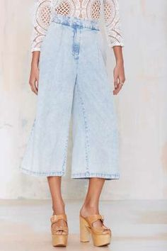 Finders Keepers New Line Chambray Pant - Pants Wide Leg Trousers, Cropped Pants, New Outfits, Fashion Outfits, Fashion Trends, Summer Outfits, Love Jeans, Chanel, Types Of Fashion Styles