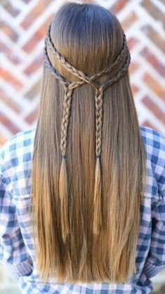 Double Braid Tie-Back Cute Girls Hairstyles: Summer Hairstyles : Double Braid Tie-Back 101 Braid Ideas That Will Save Your Bad Hair Day (Photos This double braid tie-back is super cute and is Vere easy to do! Date Hairstyles, Cute Girls Hairstyles, Braided Hairstyles, School Hairstyles, Wedding Hairstyles, American Hairstyles, Hairstyles Pictures, Hairdos, Simple Hairstyles For Long Hair