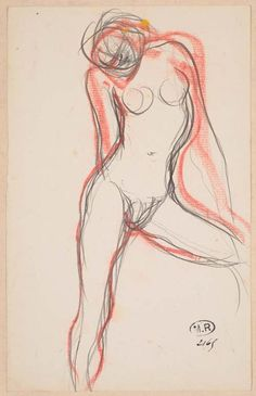 Auguste Rodin - Female Nude with Left Leg Outstreched, circa 1890 - Graphite pencil, brown ink, red pastel, pen Auguste Rodin, Musée Rodin, Life Drawing, Drawing Sketches, Art Drawings, Figure Drawings, Gesture Drawing, Rodin Drawing, Rodin Museum