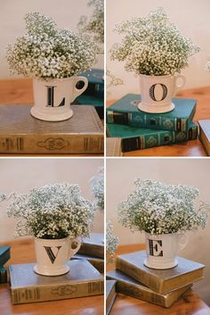 This would be really sweet for a small outdoor wedding, perfect idea if you're on a budget! Cute centerpiece idea - baby's breath in teacups on stacked vintage books or wooden blocks would work to