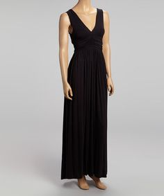 Take a look at this Black V-Neck Maxi Dress by La Class on #zulily today!