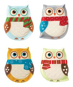 Snowy Owls Plate Set by Boston Warehouse Christmas on @zulily today!  And other cutie Owl stuffs . . . along with different themes too!