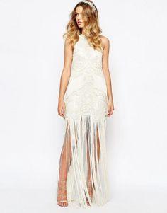 vestido de noiva barato low cost da asos estilo vintage com franjas 1