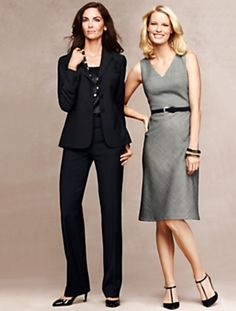 All items from Talbots. On left: Tone-on-tone black suit with pants, with a black silk camisole/tank top. Very nice. On the right, a gray v-neck sleeveless dress. Careerwear for the office. Professional dress for women to wear to work. Formal fashion for business professionals (consultants, etc.)