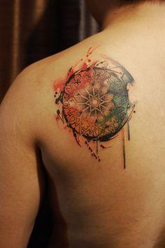 Chronic Ink Tattoo - Toronto Tattoo Custom Mandala with water colour by Evan.