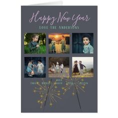 Sparker Fun | Photo Collage NEW YEAR Instagram Card - christmas cards merry xmas family party holidays cyo diy greeting card