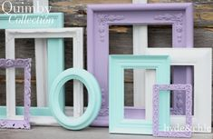 Baby Girl Nursery / Purple / White / Aqua / Lavender / Shabby Chic / Big Girl& Room / Distressed Picture Frame Set / Quimby Collection USD) by hydeandchicboutique Baby Girl Nursery Decor, Baby Decor, Nursery Room, Baby Room, Chic Nursery, Nursery Ideas, Girl Decor, Purple Nursery Decor, Nursery Gray